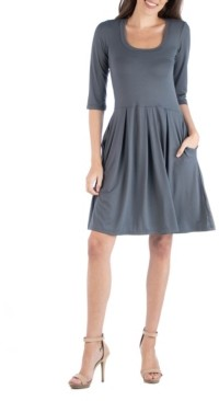 24seven Comfort Apparel Women's 3/4 Sleeve Fit and Flare Mini Dress