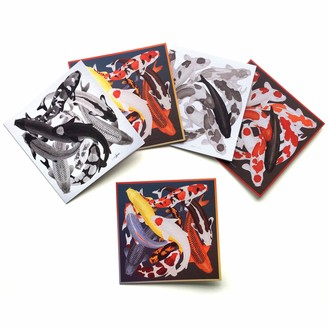 Arlette Ess Set of Five Textured Greeting Cards With Envelopes Koi Designs Assorted