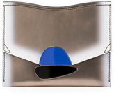 Proenza Schouler New Small Clutch Metallic Leather Bag, Light Gold/White