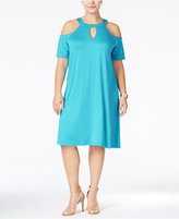 ING Trendy Plus Size Cold-Shoulder Keyhole Dress