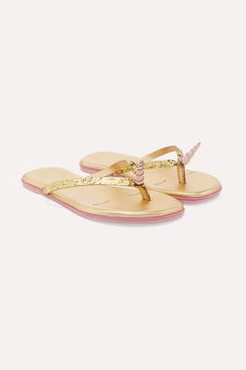 TKEES Kids Kids - Glittered Leather Flip Flops - Gold