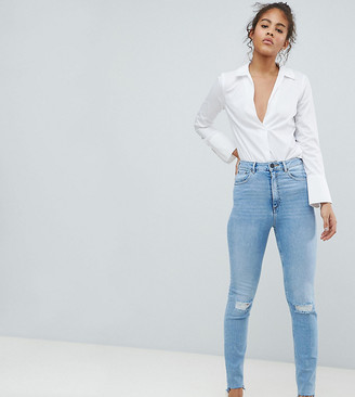 Asos Tall DESIGN Tall Farleigh high waisted slim mom jeans in light vintage wash with busted knee and rip & repair detail-Blue