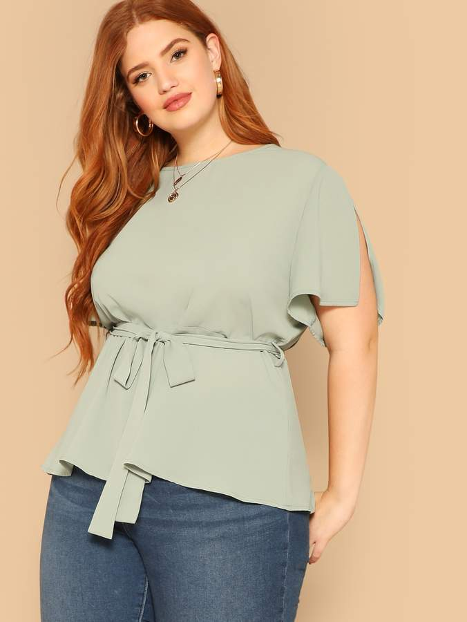01fd3acb Slit Sleeve Blouse - ShopStyle