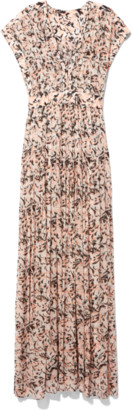 Proenza Schouler Chiffon Short Sleeve V-Neck Dress in Coral/Black Abstract Animal