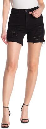 Good American Ripped High Waisted Cutoff Shorts