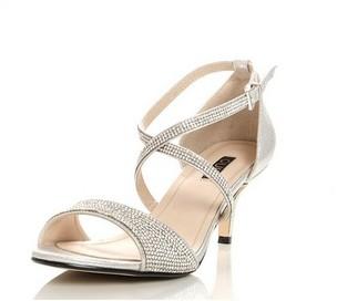 Dorothy Perkins Womens *Quiz Silver Diamante Heel Sandals, Silver