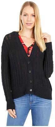 J.Crew Textured V-Neck Cardigan Sweater (Black) Women's Clothing