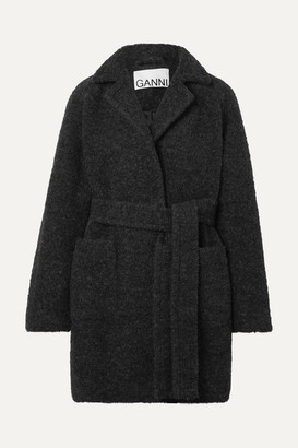 Ganni Belted Wool-blend Boucle Coat - Gray