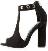 Charlotte Russe Grommet T-Strap Block Heel Sandals