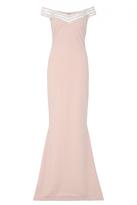 Quiz Nude Crepe Diamante Bardot Fishtail Maxi Dress