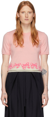COMME DES GARÇONS GIRL Pink and White Disney Edition Ribbons Pullover