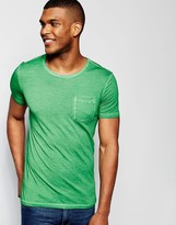 Benetton Crew Neck Pocket T-Shirt in Oil Wash