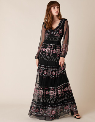 Monsoon Atelier Heather Embroidered Maxi Dress Black
