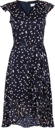 Wallis PETITE Navy Polka Dot Ruffle Dress