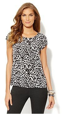 New York & Co. Semi-Sheer Cheetah-Print Blouse