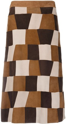 P.A.R.O.S.H. patchwork suede A-line skirt