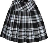 Beautifulfashionlife Women`s Plaid Double Layers Elasticated Pleated Skirt(XL,)