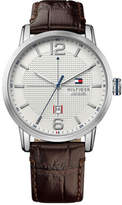 Tommy Hilfiger Mens George 3 Hand With Date Rnd Brn Strap