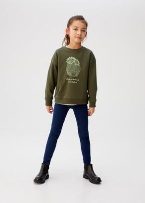 MANGO Printed cotton sweatshirt khaki - 5 - Kids