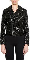 Saint Laurent Leather And Sequins Jacket