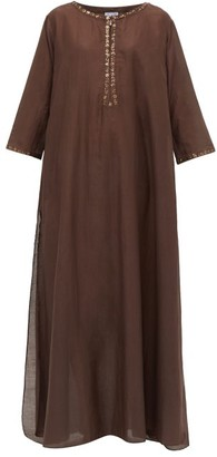 Thierry Colson Samia Embroidered Cotton-blend Kaftan - Brown