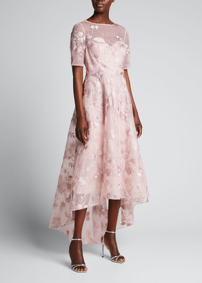 Rickie Freeman For Teri Jon High-Low Floral Embroidered Tulle Dress