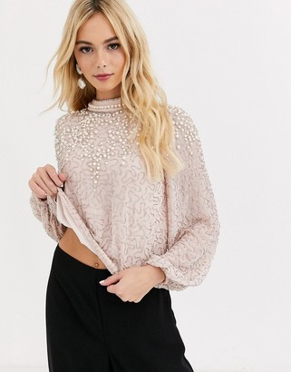 Miss Selfridge high neck top with embellishment in pink