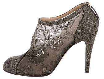 Valentino Lace Round-Toe Booties