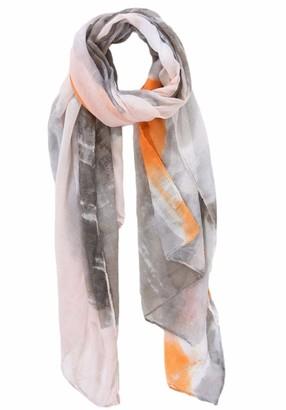 Purple Possum Orange Scarf Ladies Grey Abstract Print Large Wrap Tangerine Lightweight Shawl