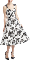 Bettie Page White & Black Floral Roman Holiday Dress - Plus Too