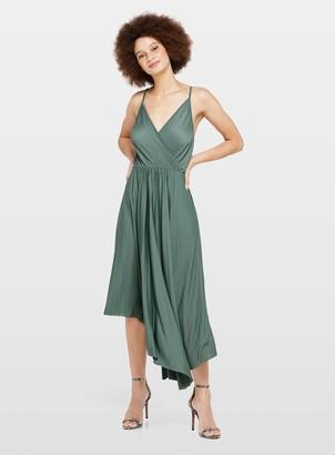 Miss Selfridge Pale Green Plisse Midi Dress