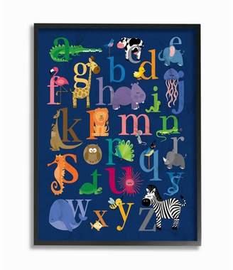 "Icons Stupell Industries Navy Alphabet Animal Framed Giclee Texturized Art (11""x14""x1.5"")"