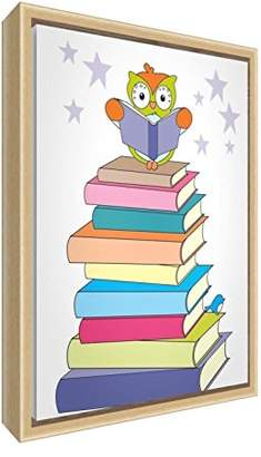 Feel Good Art Eco-Printed & Framed Nursery Canvas with Solid Natural Wooden Frame Wally The Owl on a Stack of Books Multicoloured, 44 x 34 x 3cm (Medium)