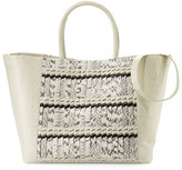 Nancy Gonzalez Woven Crocodile Large Convertible Tote Bag, Cream/Natural