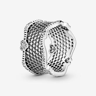 Pandora Pave Hearts Lace Ring