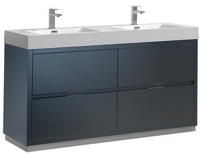 "Fresca FCB8460-D-I Senza 60"" Double Vanity Set with Wood Cabinet and"