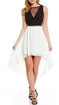 Jodi Kristopher Sleeveless Color Block High-Low Dress