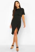 boohoo Sadiya Layered Wrap Wiggle Midi Dress