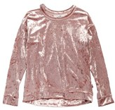 T2 Love Girl's Velour Cutout Pullover