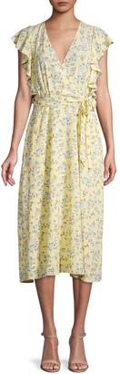 1 STATE Floral Ruffle Faux Wrap Dress