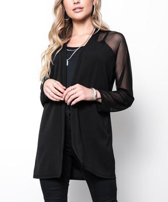 Milly Penzance Women's Open Cardigans black - Black Mesh-Accent Raglan-Sleeve Open Cardigan - Women & Plus