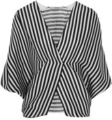 Etro Wrap-effect Striped Ribbed Silk Top - Black