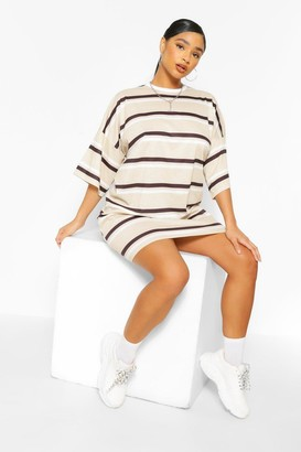 boohoo Plus Stripe Oversized T-Shirt Dress