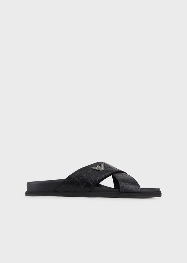 Emporio Armani Croc Print Leather Crossover Sandals