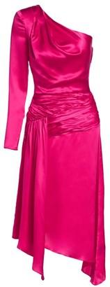 Each X Other Satin One-Shoulder Asymmetric A-Line Dress