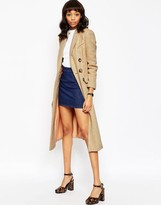 Asos Coat in Midi Length with Raw Edge