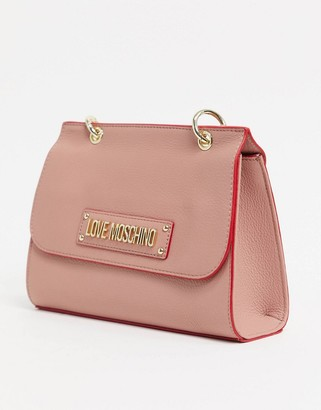 Love Moschino tote bag with key chain in pink