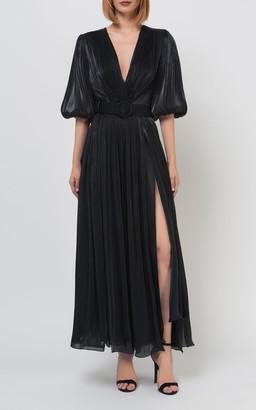 Costarellos Brennie Belted Iridescent Lurex-Georgette Dress