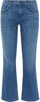 Current/Elliott The Kick Cropped Mid-rise Flared Jeans - Mid denim