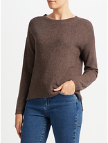 John Lewis High Crew Ribbed Sweater, Brown